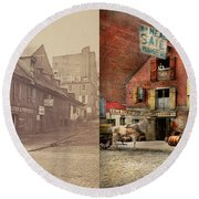 Round Beach Towel featuring the photograph City - Pa - Fish And Provisions 1898 - Side By Side by Mike Savad