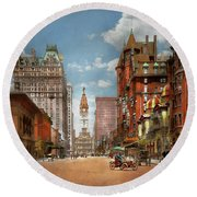 Round Beach Towel featuring the photograph City - Pa Philadelphia - Broad Street 1905 by Mike Savad