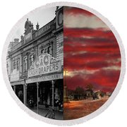 Round Beach Towel featuring the photograph City - Palmerston North Nz - The Shopping District 1908 - Side By Side by Mike Savad