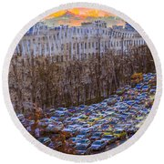 Round Beach Towel featuring the photograph City Traffic by Vladimir Kholostykh