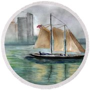 City Sail Round Beach Towel