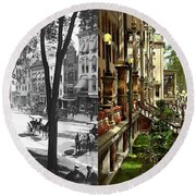 Round Beach Towel featuring the photograph City - Saratoga Ny -  I Would Love To Be On Broadway 1915 - Side By Side by Mike Savad