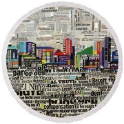 City Scape Round Beach Towel