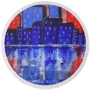 City Scape_abstract Round Beach Towel