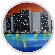 City Scape_night Life Round Beach Towel