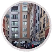 City Scene Round Beach Towel by Russell Keating