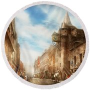 Round Beach Towel featuring the photograph City - Scotland - Tolbooth Operator 1865 by Mike Savad