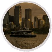 Round Beach Towel featuring the photograph City Skyline  by Andrew Matwijec