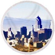City Skyline Philadelphia Round Beach Towel by Bill Cannon