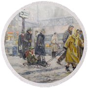 Round Beach Towel featuring the painting City Snow Ride by Donna Tucker