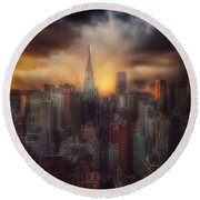 Round Beach Towel featuring the photograph City Splendor - Sunset In New York by Miriam Danar