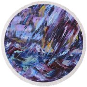 City Storm Abstract Round Beach Towel