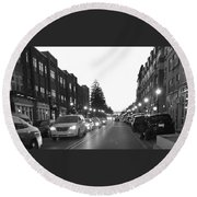 City Streets Round Beach Towel by Russell Keating