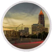 City Sunset Round Beach Towel