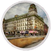 Round Beach Towel featuring the photograph City - Toledo Oh - Got A Boody Call 1910 by Mike Savad