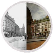 Round Beach Towel featuring the photograph City - Toledo Oh - Got A Boody Call 1910 - Side By Side by Mike Savad