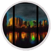 City Under A Blue Moon Round Beach Towel