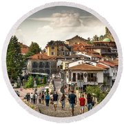 City - Veliko Tarnovo Bulgaria Europe Round Beach Towel