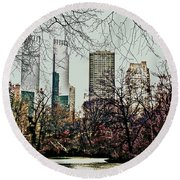 City View From Park Round Beach Towel by Sandy Moulder