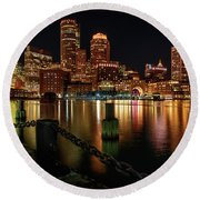 City With A Soul- Boston Harbor Round Beach Towel