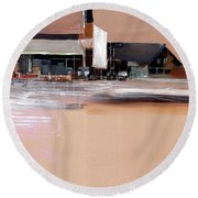 Round Beach Towel featuring the painting Cityscape 3 by Anil Nene