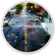 Round Beach Towel featuring the photograph Cityscape 39 - Crossroads by Alfredo Gonzalez