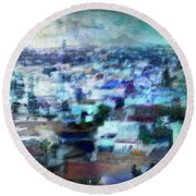 Cityscape #41 - Blue Whispers Round Beach Towel
