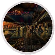 Cityscape Round Beach Towel by Elaine Hunter