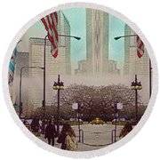 Cityscape With A Bit Of Fog Round Beach Towel
