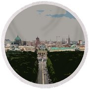 Cityscape Of Berlin - Painting Effect Round Beach Towel