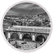 Cityscape Of Florence And Cemetery Round Beach Towel