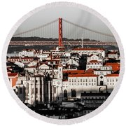 Lisbon In Black, White And Red Round Beach Towel