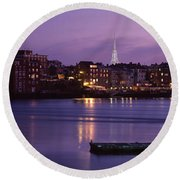 Cityscape Portsmouth Nh Usa Round Beach Towel