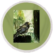Cityscape With A Crow Round Beach Towel