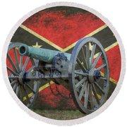 Civil War Cannon Rebel Flag Round Beach Towel