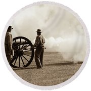 Civil War Era Cannon Firing  Round Beach Towel