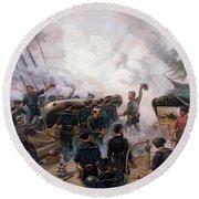 Civil War Naval Battle - Kearsarge And Alabama  Round Beach Towel