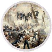 Civil War Naval Battle Round Beach Towel