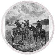 Civil War Soldiers On Horseback Round Beach Towel