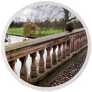 Round Beach Towel featuring the photograph Clare College Bridge Cambridge by Gill Billington