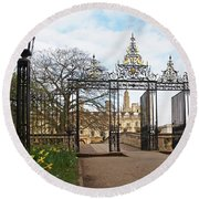 Round Beach Towel featuring the photograph Clare College Gate Cambridge by Gill Billington