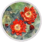 Claret Cup Cactus Round Beach Towel by Marilyn Smith