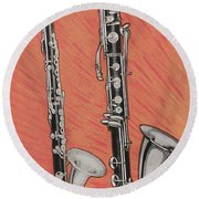 Clarinet And Giant Boehm Bass Round Beach Towel by American School