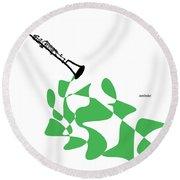 Clarinet In Green Round Beach Towel