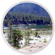 Clark Fork River Missoula Montana Round Beach Towel by Kay Novy