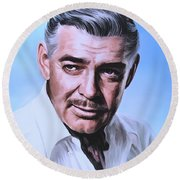 Round Beach Towel featuring the painting  Clark Gable 2 by Andrzej Szczerski