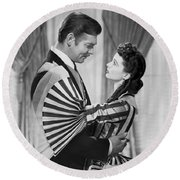 Clark Gable And Vivien Leigh Round Beach Towel