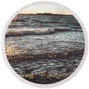 Round Beach Towel featuring the photograph Clarks Hill Lake by Andrea Anderegg
