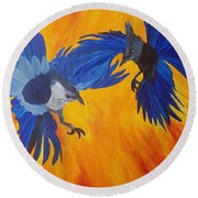 Clash Of Wings Round Beach Towel by Maria Urso