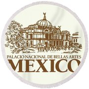 Classic Architecture In Mexico City Print Round Beach Towel